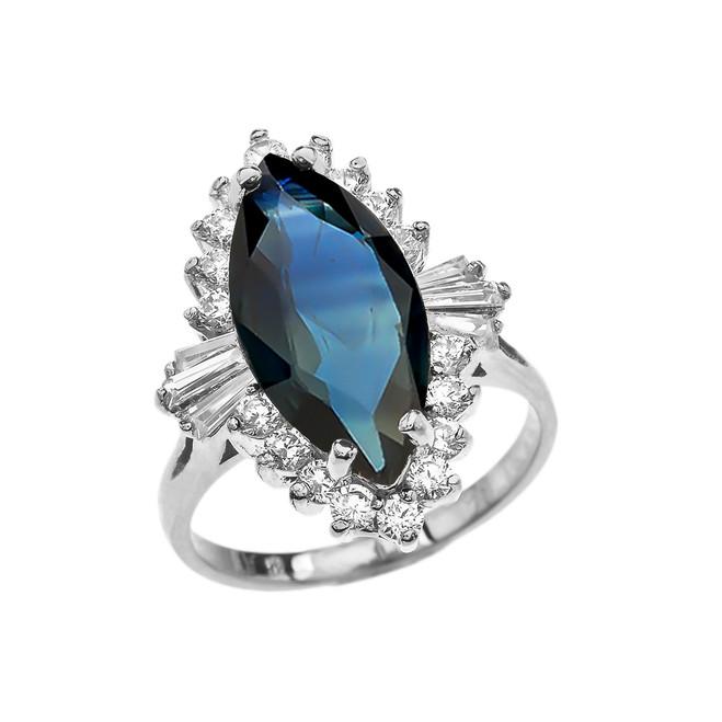 4 Ct CZ Sapphire September Birthstone Ballerina White Gold Proposal Ring