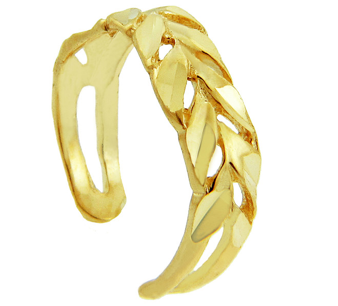 Diamond Cut Yellow gold Toe Ring