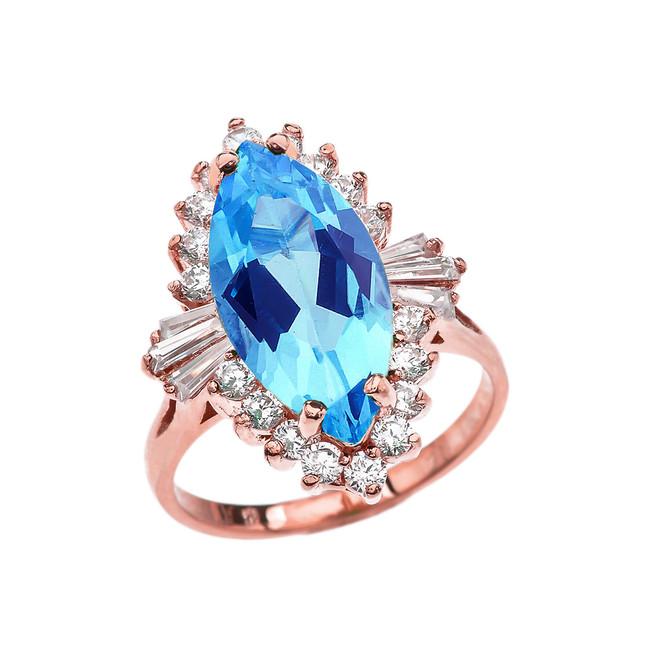 4 Ct CZ Blue Topaz December Birthstone Ballerina Rose Gold Proposal Ring