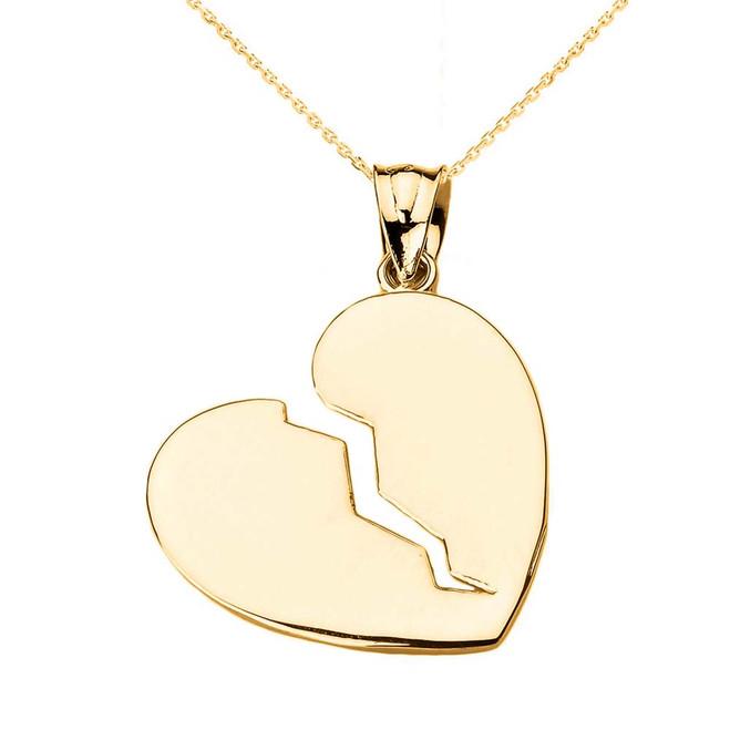 Yellow Gold Broken Heart Pendant Necklace