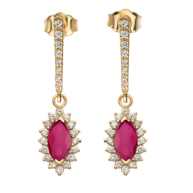 Diamond And Ruby Yellow Gold Elegant Earrings