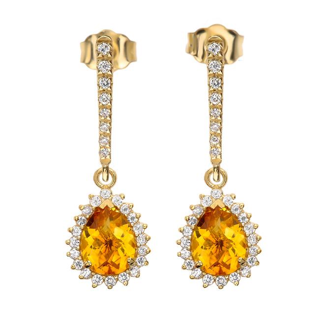 Diamond And Checkerboard Citrine Yellow Gold Elegant Earrings