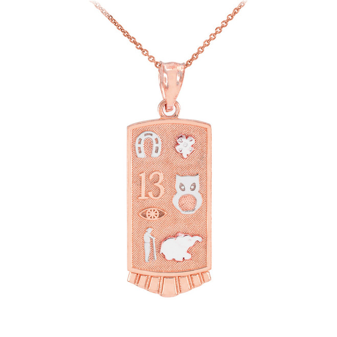 Two-tone Rose Gold Lucky Pendant Necklace