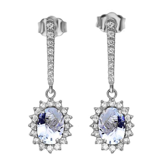Diamond And March Birthstone Aquamarine White Gold Elegant Earrings