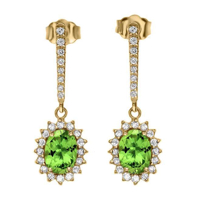 Diamond And Peridot Yellow Gold Elegant Earrings