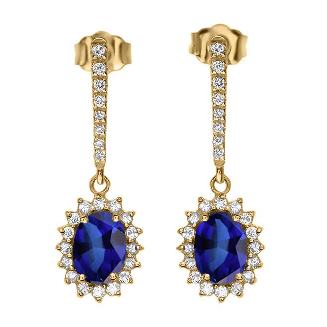 Diamond And September Birthstone Sapphire Yellow Gold Elegant Earrings