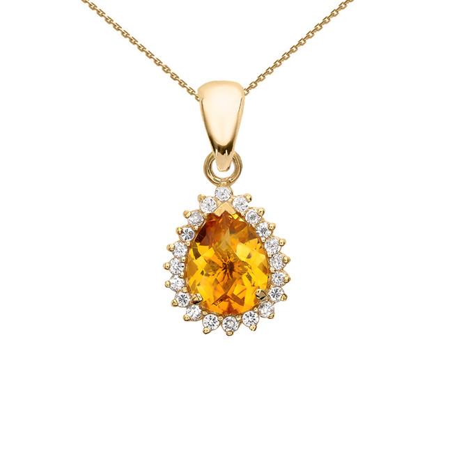 Diamond And Checkerboard Citrine Yellow Gold Elegant Pendant Necklace
