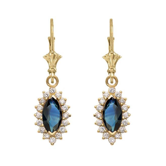 Diamond And Sapphire Yellow Gold Dangling Earrings