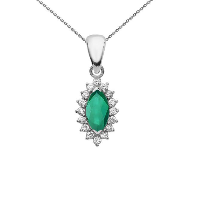 Diamond And Emerald White Gold Elegant Pendant Necklace