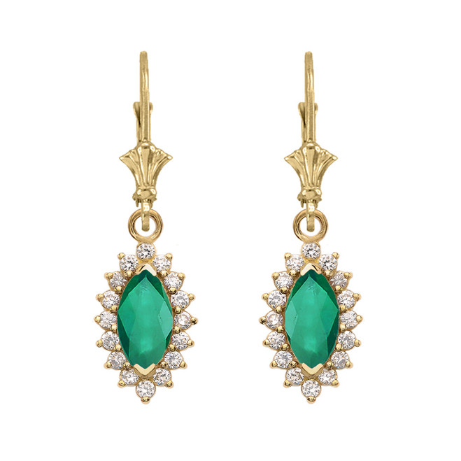 Diamond And May Birthstone Yellow Gold Dangling Earrings
