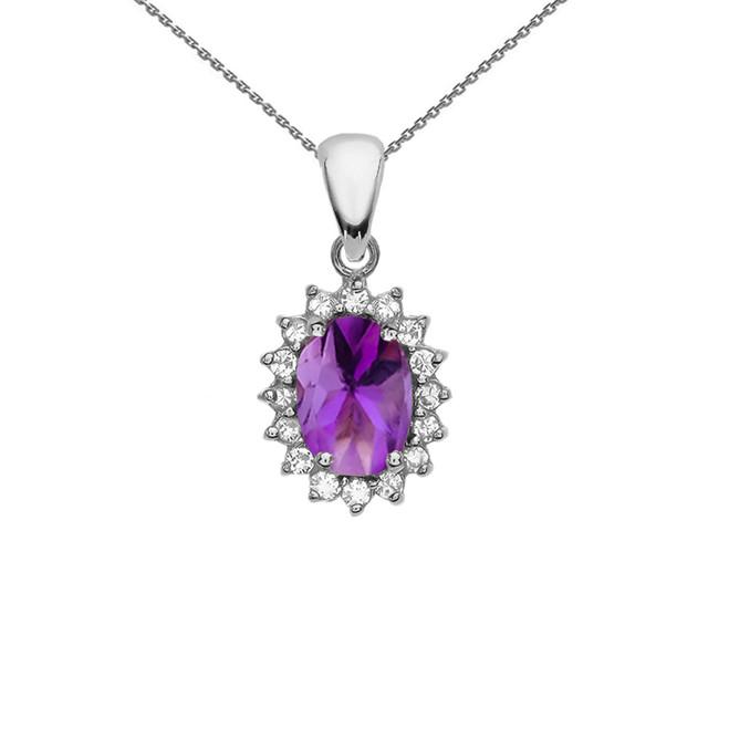 Diamond And Amethyst White Gold Elegant Pendant Necklace