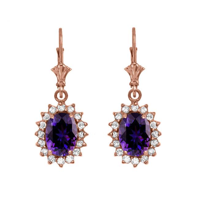 Diamond And Amethyst Rose Gold Dangling Earrings