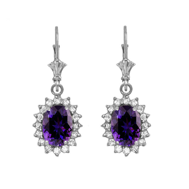Diamond And Amethyst White Gold Dangling Earrings