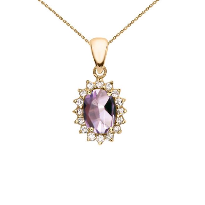 Diamond And June Birthstone CZ Alexandrite Yellow Gold Elegant Pendant Necklace