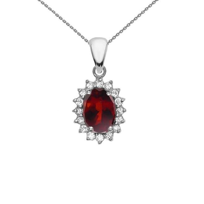 Diamond And Garnet White Gold Elegant Pendant Necklace