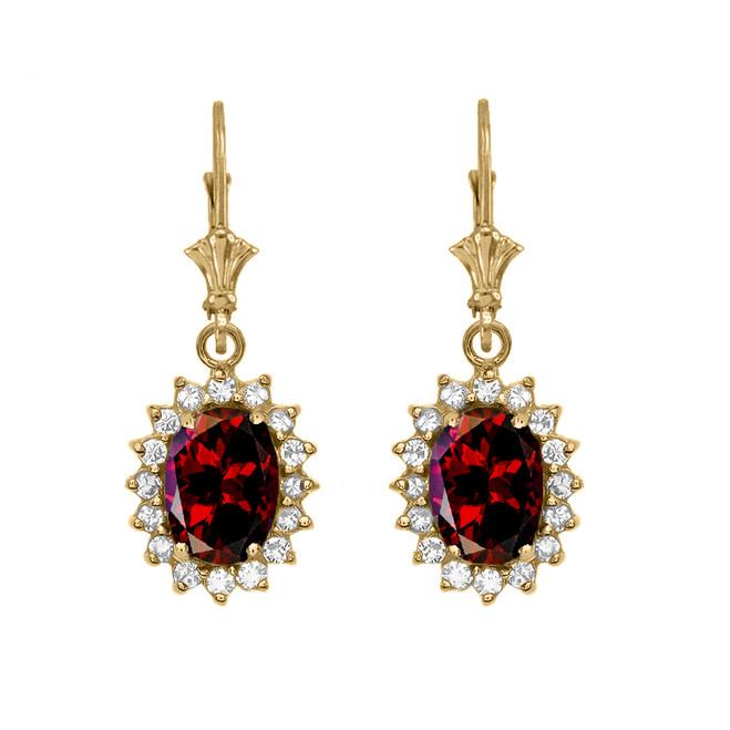 Diamond And Garnet Yellow Gold Dangling Earrings