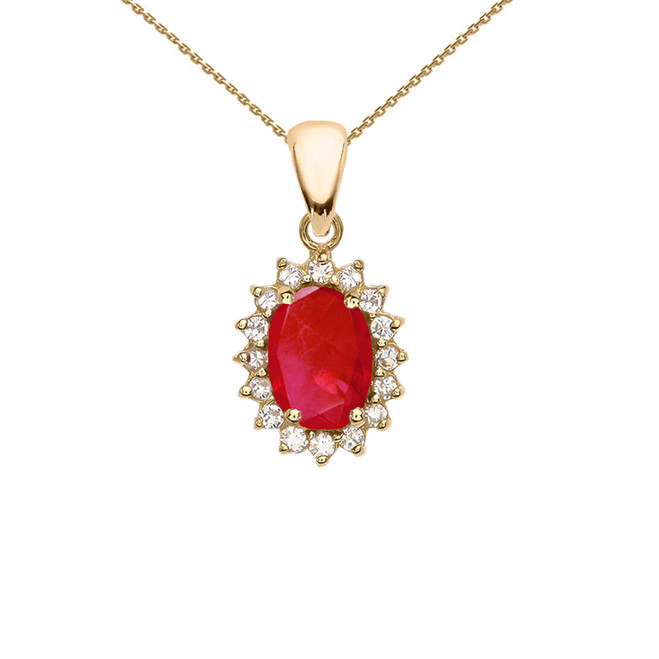 Diamond And July Birthstone Ruby Yellow Gold Elegant Pendant Necklace