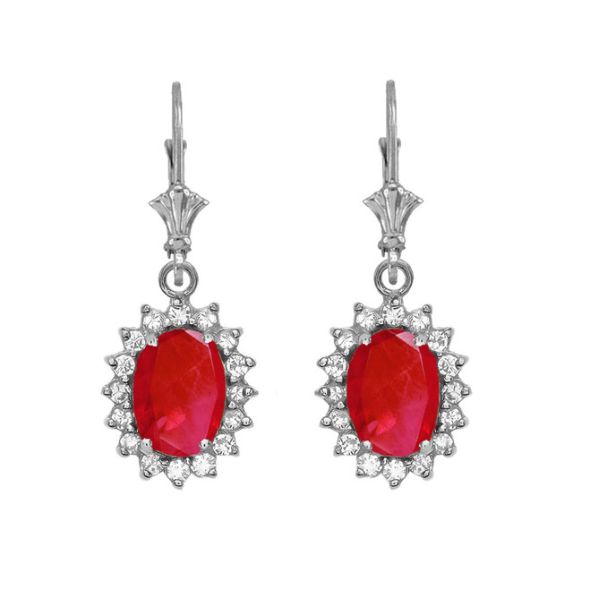 Diamond And July Birthstone Ruby White Gold Dangling Earrings