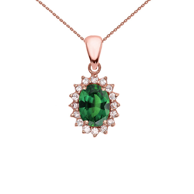 Diamond And May Birthstone (LCE) Emerald Rose Gold Elegant Pendant Necklace