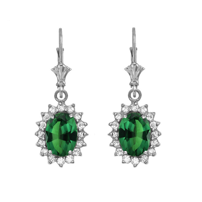 Diamond And May Birthstone (LCE) Emerald White Gold Dangling Earrings