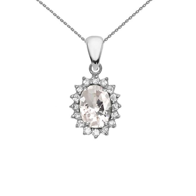 Diamond And April Birthstone CZ White Gold Elegant Pendant Necklace