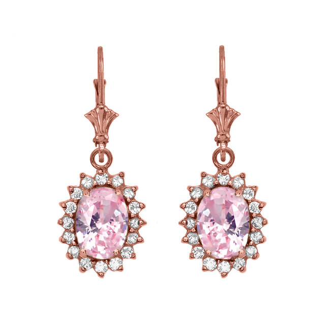 Diamond And October Birthstone Pink CZ Rose Gold Dangling Earrings