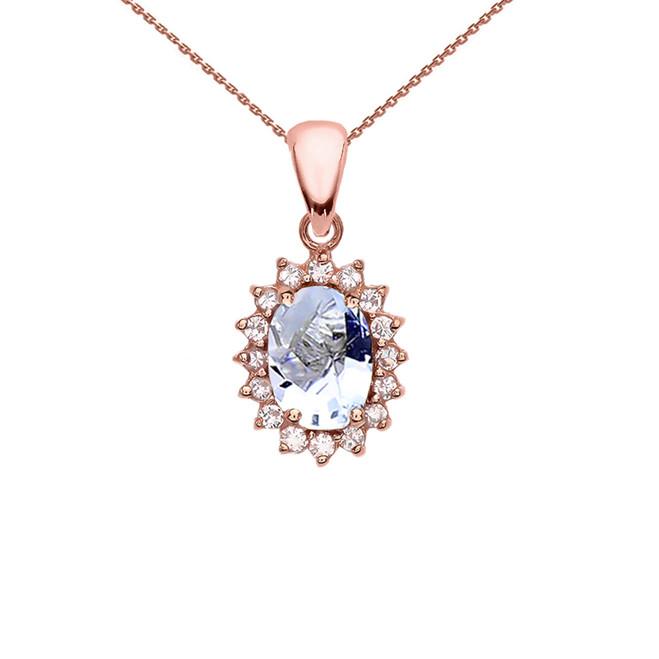 Diamond And March Birthstone Aquamarine Rose Gold Elegant Pendant Necklace
