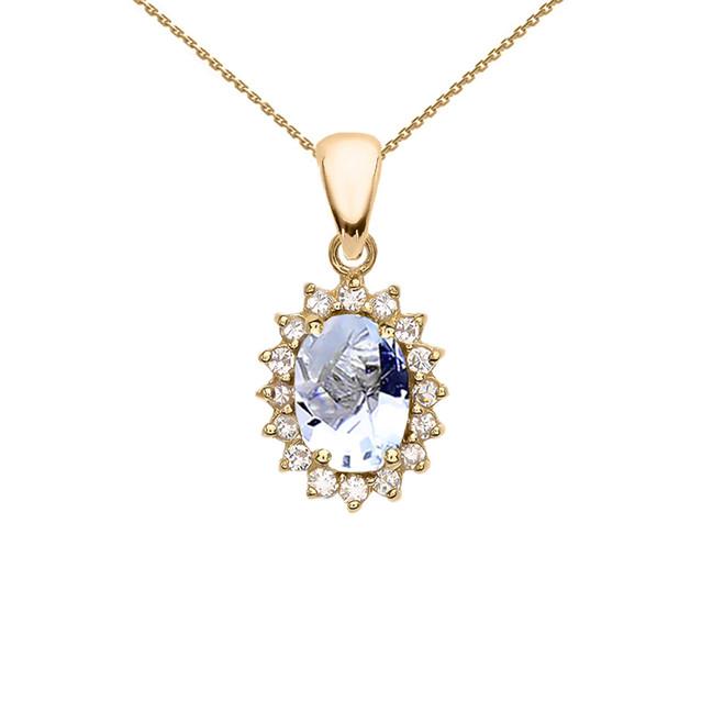 Diamond And March Birthstone Aquamarine Yellow Gold Elegant Pendant Necklace