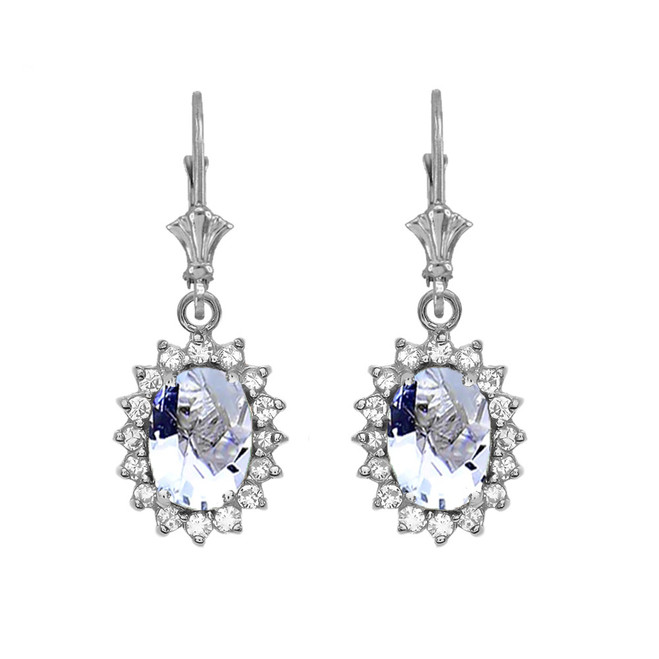Diamond And March Birthstone Aquamarine White Gold Dangling Earrings
