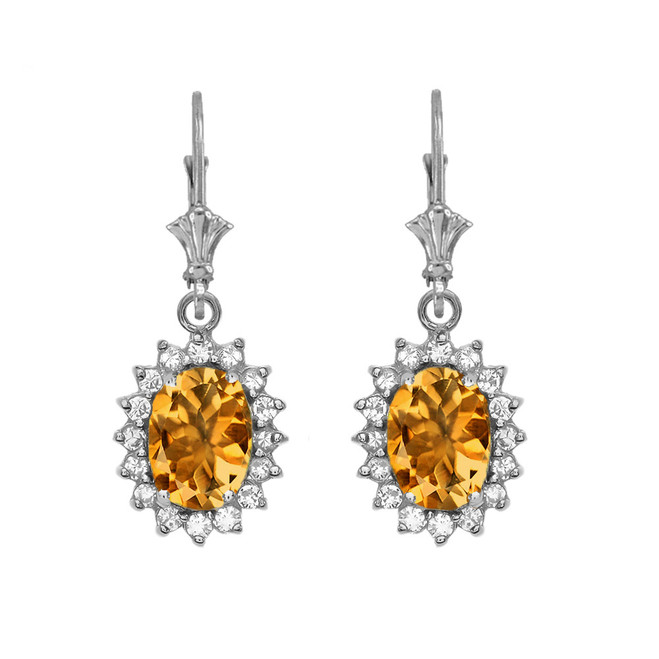 Diamond And Citrine White Gold Dangling Earrings