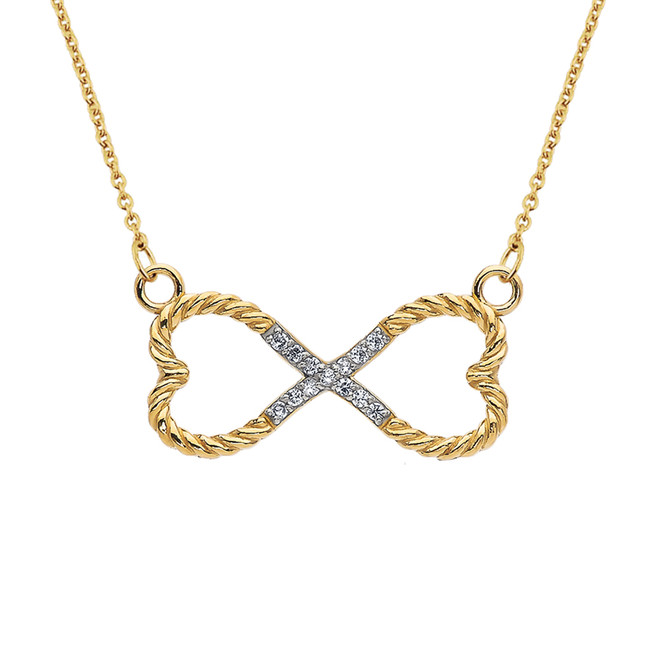 Diamond Double Heart Infinity Rope Yellow Gold Necklace