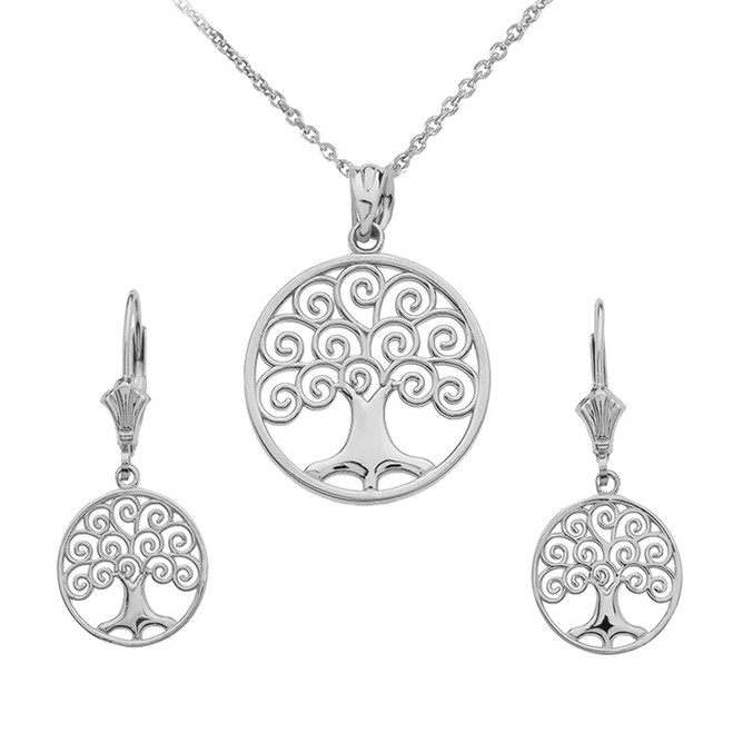 Sterling Silver Polished Tree of Life Openwork Necklace Earring Set
