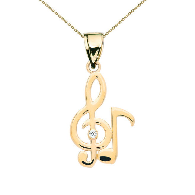 Diamond Treble Clef  And Eighth Note Music Yellow Gold Pendant Necklace