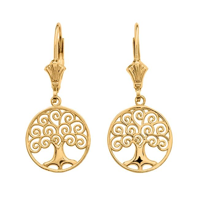 Yellow Gold Polished Tree of Life Openwork Earrings