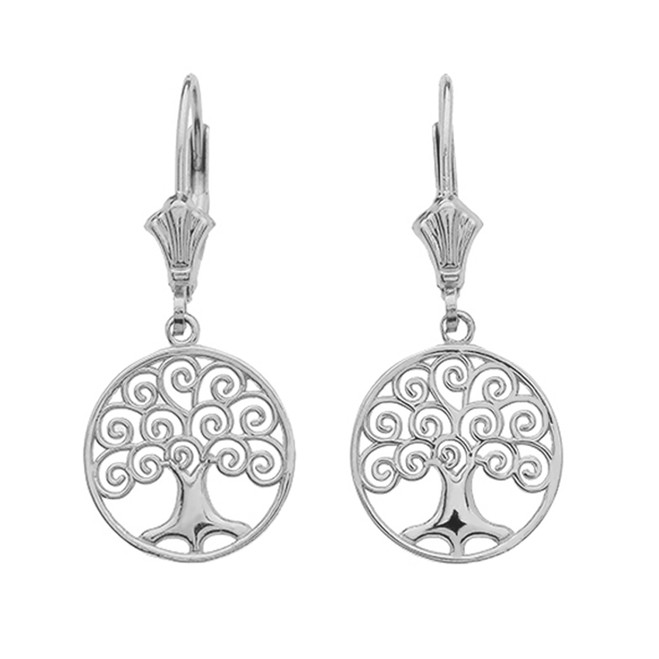 14K White Gold Polished Tree of Life Openwork Earrings