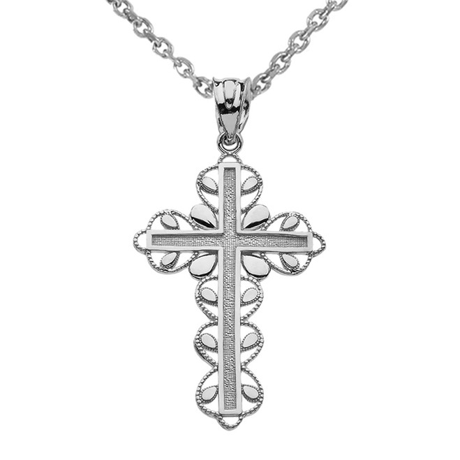 "Sterling Silver Cross ""Faith Hope Love "" Pendant Necklace"