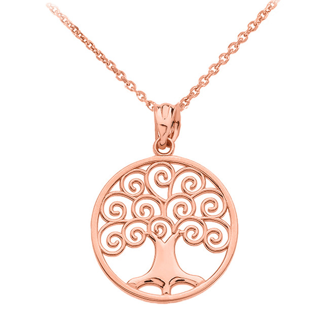 Rose Gold Polished Tree of Life Openwork Pendant Necklace