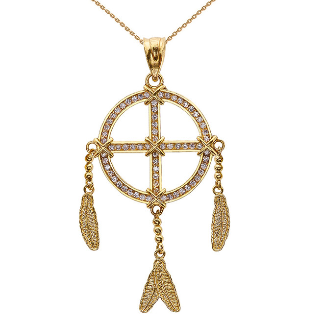 Yellow Gold And Diamond Dream Catcher Pendant Necklace