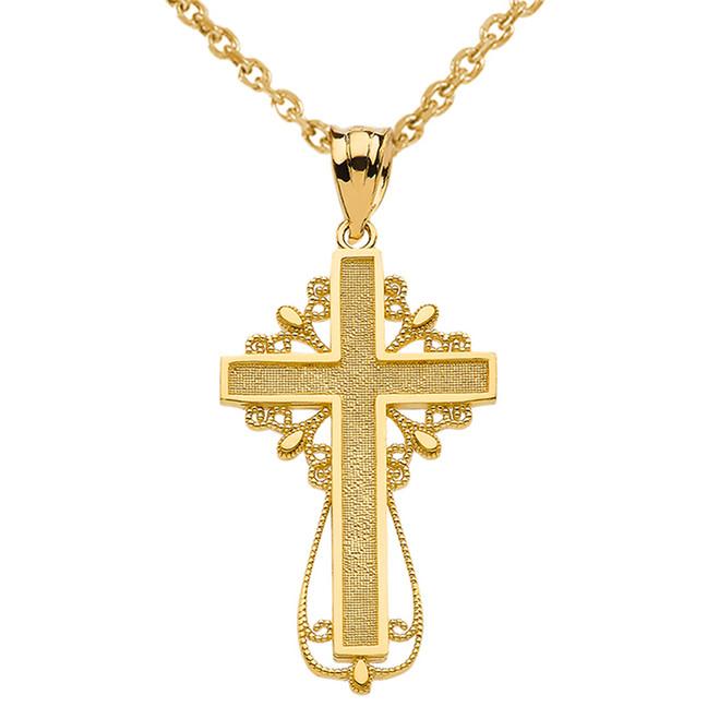 Yellow Gold Latin Filigree Cross Pendant Necklace