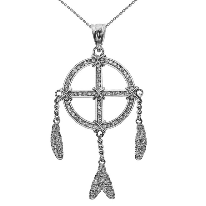 White Gold And Cubic Zirconia Dream Catcher Pendant Necklace
