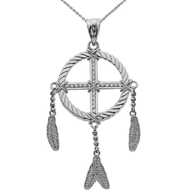Dream Catcher White Gold And Diamond Pendant Necklace