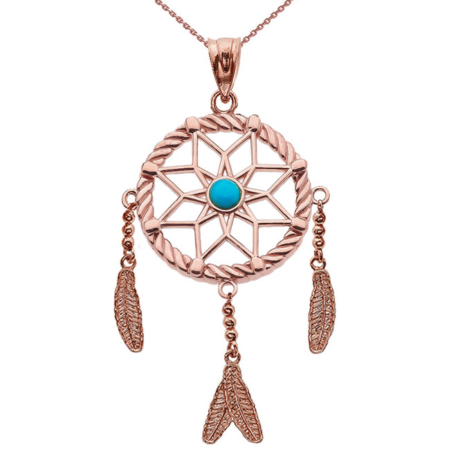 Rose Gold And Turquoise Flower Dream Catcher Pendant Necklace