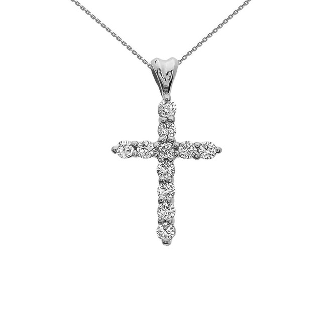Diamond Cross White Gold Pendant Necklace