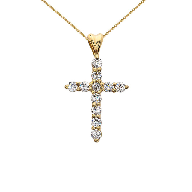 Diamond Cross Yellow Gold Pendant Necklace