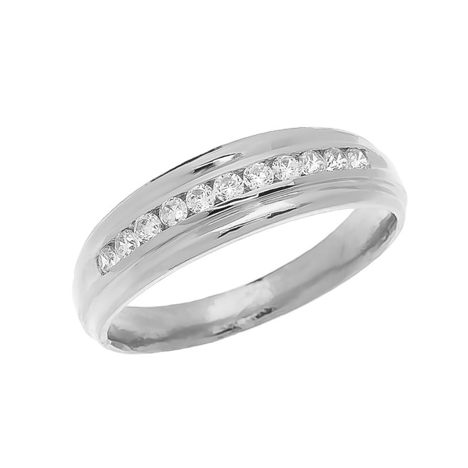 Channel-Set Diamond White Gold Men's Wedding Ring