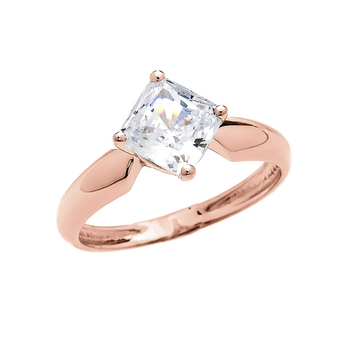 2.5 Carat Engagement and Proposal CZ Solitaire Rose Gold Ring