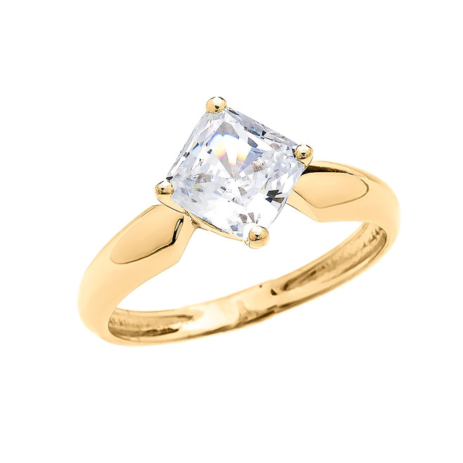 2.5 Carat Engagement and Proposal CZ Solitaire Yellow Gold Ring