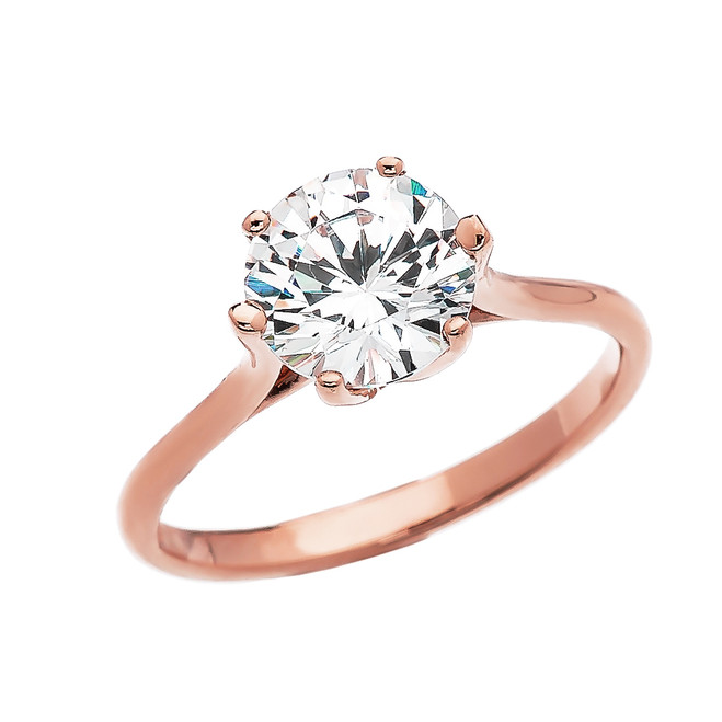 3 Carat CZ Engagement and Proposal Solitaire Rose Gold Ring