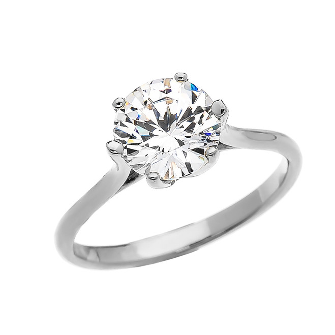 3 Carat CZ Engagement and Proposal Solitaire White Gold Ring