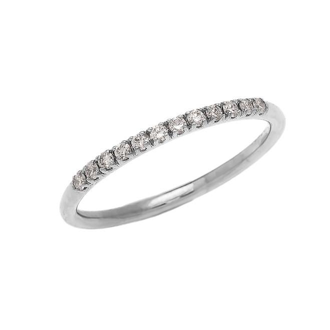 Diamond Stackable White Gold Wedding Band